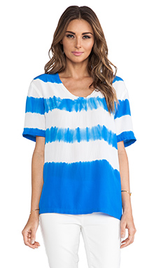 Equipment Cameron Tie Dye Stripe Tee in Klein Blue