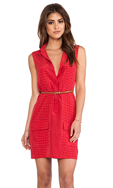 Equipment Sleeveless Lucida Crocodile Blouse in Strawberry Red