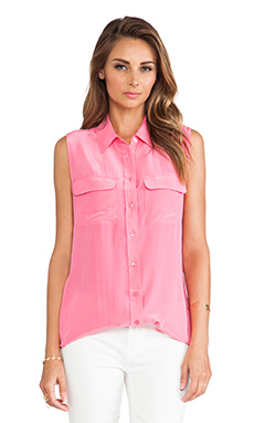 Equipment Sleeveless Slim Signature Blouse in Hot Pink