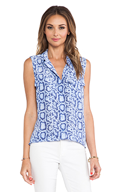 Equipment Sleeveless Slim Signature Blouse in Hydrangea