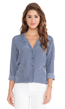 Equipment Adalyn Menswear Stripe Blouse in Crown Blue Multi