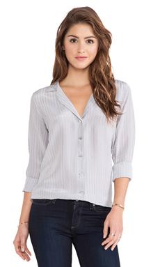 Equipment Adalyn Menswear Stripe Blouse in Silver Sconce Multi
