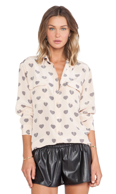 Equipment Signature Broken Hearts Blouse in Nude & Gunmetal