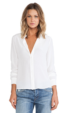 Equipment Brett Clean Embroidery Stitch Blouse en Bright White