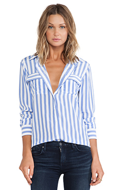 Equipment Slim Signature Vertical Stripe Blouse in Jewel & Bright White
