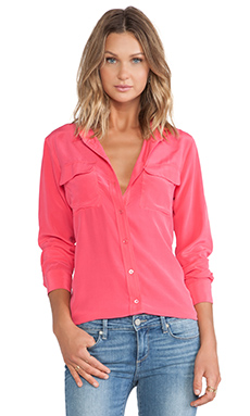 Equipment Slim Signature Vintage Wash Blouse in Azalea