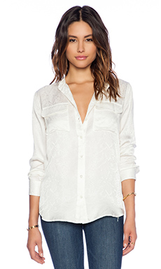 Equipment Collarless Slim Signature Reptile Discovery Blouse in Nature White