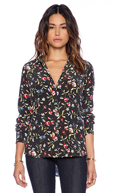 Equipment Brett Clean Floral Cadence Blouse in True Black Multi