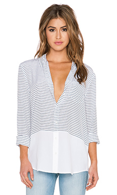 Equipment Reese Neat Stripe Blouse in Bright White & Peacoat