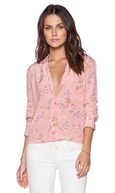 Equipment Keira Subtle Floral Print Blouse in Desert Rose