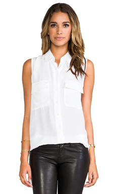 Equipment Sleeveless Signature in Bright White