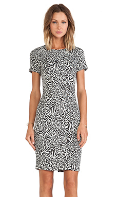 Essentiel Happy Bday Zig Zag Milano Dress in Black & White