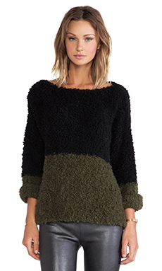Essentiel Huston Into The Wild Sweater in Army & Black