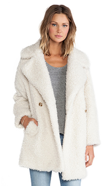 Essentiel Haxara Maxi Faux Fur Coat in Cream