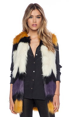 Essentiel Hillbilly Rotkho Faux Fur Vest in Multi