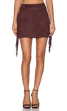 Essentiel Fringes Suede Mini Skirt in Brown