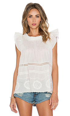 Essentiel Hippy Lace Tank in Off White