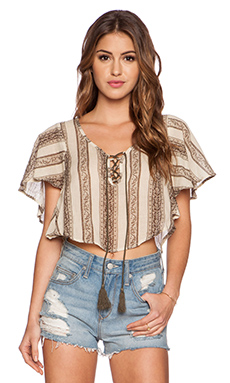 Eternal Sunshine Creations Indian Ivy Crop Wing Top in Coffee Liqueur