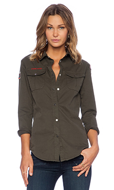 Etienne Marcel Button Up Top in Military