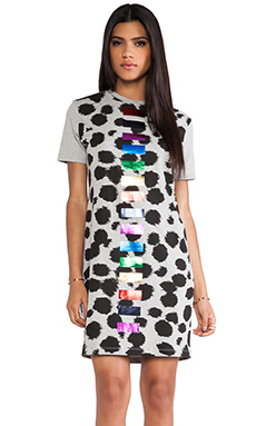 etre cecile Foil Cheetah Dress in Grey & Black Multi