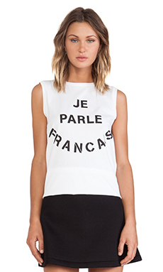 etre cecile Je Parle Francais Oversized Tank in White