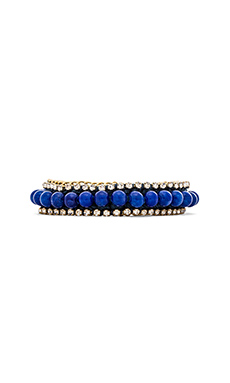 Ettika Rhinestone and Beaded Bracelet in Cobalt