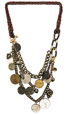 Ettika Leather Draped Necklace in Brass