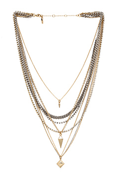 Ettika Pyramid & Spike Layered Necklace in Mixed Metal