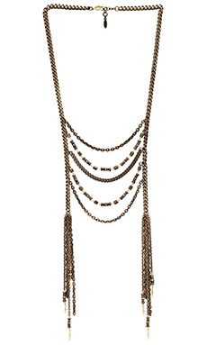 Ettika Beaded Long Lariat Necklace in Brass