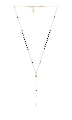 Ettika Dainty Lariat Necklace in Gold & Black