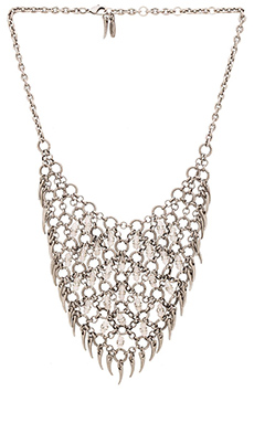 Ettika Beaded Bib Necklace in Silver & White