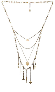 Ettika Multi Layered Charm Necklace in Brass