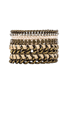 Ettika Friendship Bracelet Stack in Cream & Brass