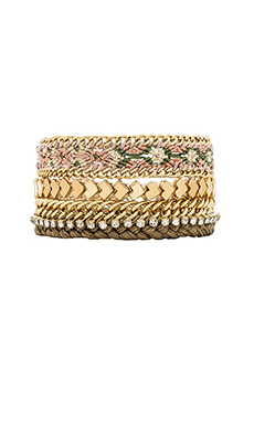 Ettika Friendship Bracelet Stack in Olive & Cream