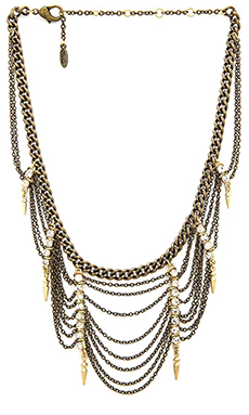 Ettika Statement Draped Bib Necklace in Brass