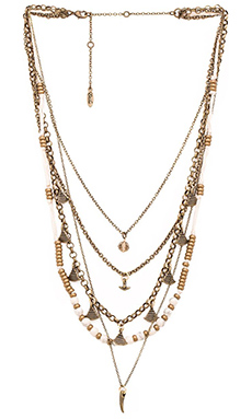 Ettika Five Layer Necklace in Brass