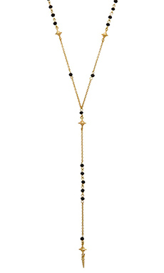Ettika North Star Beaded Necklace in Black & Gold