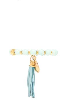 Ettika Beaded Bracelet with Seashell/Tassel in Mint
