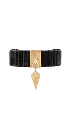 Ettika Leather Cuff with Spike Charm in Black/Gold