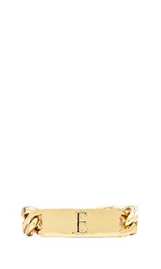 Ettika E Initial ID Bracelet in Gold