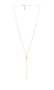 Ettika Beaded Lariat in White & Gold