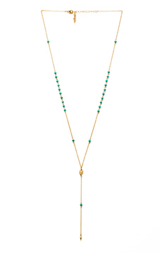 Ettika Dainty Pyramid Lariat with Beads in Gold & Turquoise