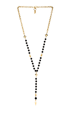 Ettika Beaded Rosary Necklace in Black/Gold