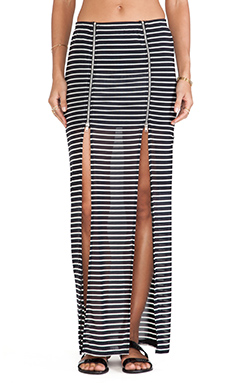 Evil Twin Fall in Line Maxi Skirt in White/Black