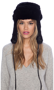 Eugenia Kim Owen Hat with Fur in Black