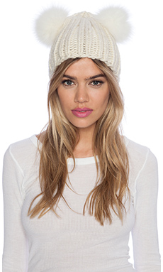 Eugenia Kim Mimi Beanie with Fur in Cream
