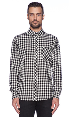 EVER Buffalo Check Button Down in Black/White