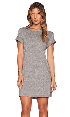 EVER Monroe T Shirt Dress in Heather Grey