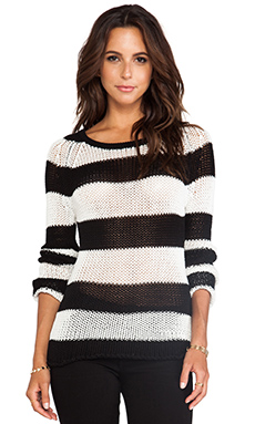 EVER Manchester Crew Neck Sweater in Black & White Stripe