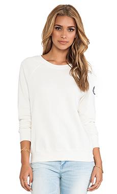 EVER Open Neck Sweatshirt in Vintage White
